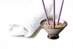 Spa relaxing items towel lavender scented sticks Royalty Free Stock Images