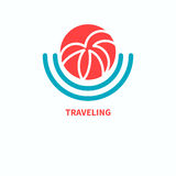 Spa resort. Logo travel agency, spa resort. Palm leaves in sun. Vector illustration Stock Photography