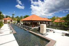 Spa resort in the tropics with blue skies Royalty Free Stock Photo