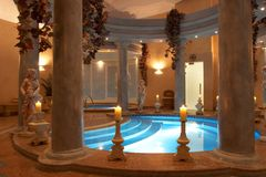 Spa with Roman Columns Royalty Free Stock Photography