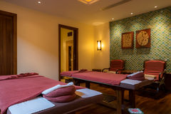 Spa room. With bed for treatment Royalty Free Stock Photo