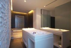 Spa room. Panoramic view of nice modern bath and massage  room Stock Image