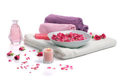 Spa with rose petals Stock Image