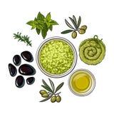 Spa salon accessories - stones, massage oil, aromatic salt, towel, herbs Royalty Free Stock Photo