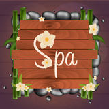 Spa salon banner with stones. Thai Massage. Wooden frame. Vector illustration. Spa salon banner with stones. Thai Massage. Wooden frame. Vector illustration Stock Images