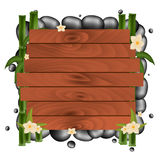 Spa salon banner with stones. Thai Massage. Wooden frame. Vector illustration. Royalty Free Stock Photos