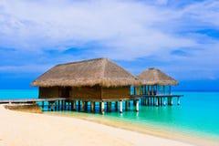 Spa salon on beach of tropical island. Healthcare background Stock Photos