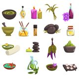 Spa salon and body care design elements set. Oil and herbs, candles, sea salt, warm stones, towel, flowers. Beauty. Spa salon and body care design elements set Vector Illustration