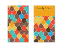 Spa salon card template. Cards template for spa salon. Beauty studio. Vector  pattern with front and back side. Moroccan Fish Scales Royalty Free Stock Images