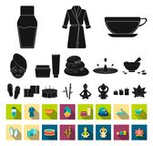 Spa salon and equipment black,flat icons in set collection for design. Relaxation and rest vector symbol stock web. Spa salon and equipment black,flat icons in stock illustration
