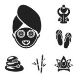 Spa salon and equipment black icons in set collection for design. Relaxation and rest vector symbol stock web. Spa salon and equipment black icons in set vector illustration