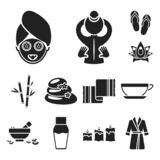 Spa salon and equipment black icons in set collection for design. Relaxation and rest vector symbol stock web. Spa salon and equipment black icons in set stock illustration