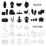 Spa salon and equipment black icons in set collection for design. Relaxation and rest vector symbol stock web. Spa salon and equipment black icons in set royalty free illustration