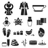 Spa salon and equipment black icons in set collection for design. Relaxation and rest vector symbol stock web. Spa salon and equipment black icons in set Royalty Free Stock Photos