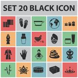 Spa salon and equipment black icons in set collection for design. Relaxation and rest vector symbol stock web. Spa salon and equipment black icons in set Stock Photography