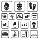 Spa salon and equipment black icons in set collection for design. Relaxation and rest vector symbol stock web. Spa salon and equipment black icons in set Stock Images