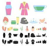 Spa salon and equipment cartoon, black icons in set collection for design. Relaxation and rest vector symbol stock web. Spa salon and equipment cartoon, black royalty free illustration