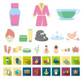 Spa salon and equipment cartoon,flat icons in set collection for design. Relaxation and rest vector symbol stock web. Spa salon and equipment cartoon,flat icons vector illustration