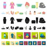 Spa salon and equipment cartoon icons in set collection for design. Relaxation and rest vector symbol stock web. Spa salon and equipment cartoon icons in set vector illustration