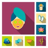Spa salon and equipment flat icons in set collection for design. Relaxation and rest vector symbol stock web. Spa salon and equipment flat icons in set vector illustration