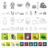 Spa salon and equipment flat icons in set collection for design. Relaxation and rest vector symbol stock web. Spa salon and equipment flat icons in set royalty free illustration