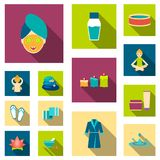 Spa salon and equipment flat icons in set collection for design. Relaxation and rest vector symbol stock web. Spa salon and equipment flat icons in set Stock Image