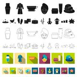 Spa salon and equipment flat icons in set collection for design. Relaxation and rest vector symbol stock web. Spa salon and equipment flat icons in set stock illustration