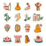 Spa salon icons set, cartoon style Stock Images