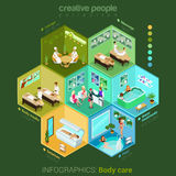 Spa salon interior in body care vector isometric concept Royalty Free Stock Images