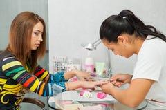 Spa salon. Manicure. Closeup shot Royalty Free Stock Images