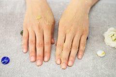 Spa salon. Manicure. Peeling. Stock Images