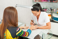 Spa salon. Manicure. Stock Photos