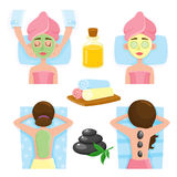 Spa salon precedures and accessories, mask, massage, towels, stones, oil Stock Photo