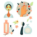 Spa salon service colorful vector poster on white Royalty Free Stock Images