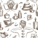 Spa salon services sketch seamless pattern woman beauty procedure. Girl with mask and towel on pillow pebble and candle oil in bottles and creams massage with stock illustration