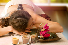 Spa Salon. Stone Massage Royalty Free Stock Photography