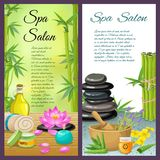 Spa Salon Vertical Compositions. With bamboo and herbs stone therapy and honey treatment cosmetics  vector illustration Stock Images