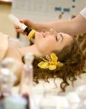 Spa salon: young beautiful woman having facial treatment. Young beautiful woman having facial treatment Royalty Free Stock Images