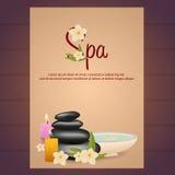 Spa salongaffisch med stenar thai massage Trä texturerar också vektor för coreldrawillustration stock illustrationer