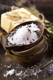 Spa salt. Lavender and soaps (spa and body care background Stock Photography