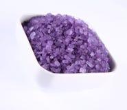 Spa salt. Lavender spa salt in a bowl stock photos