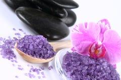 Spa salt and spa stones royalty free stock photos