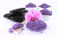 Spa salt and spa stones stock image