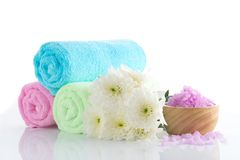 Spa salt stones and flower for beauty Stock Image