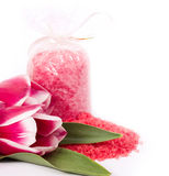 Spa salt and tulips Stock Photography