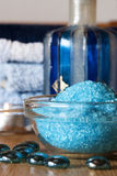 Spa Salt. On a wooden table Royalty Free Stock Photo