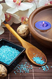 Spa salts and candles Royalty Free Stock Image