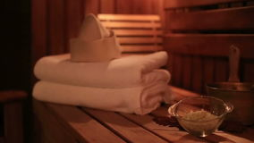 Spa and sauna attributes stock footage