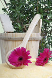 Spa Sauna Relax. Sauna utensils for relaxation and recreation Royalty Free Stock Photo