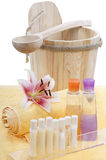 Spa Sauna Relax. Sauna utensils for relaxation and recreation Royalty Free Stock Images